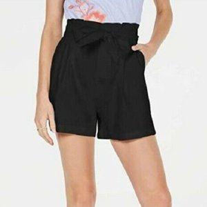 INC L Black Pockets Paper Bag Shorts RETAG AU74